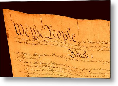 Us Constitution Closest Closeup Brown Background Metal Print by L Brown