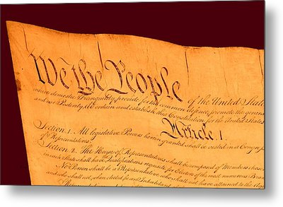 Us Constitution Closest Closeup Red Brown Background Metal Print by L Brown