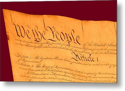 Us Constitution Closest Closeup Violet Red Background Metal Print by L Brown