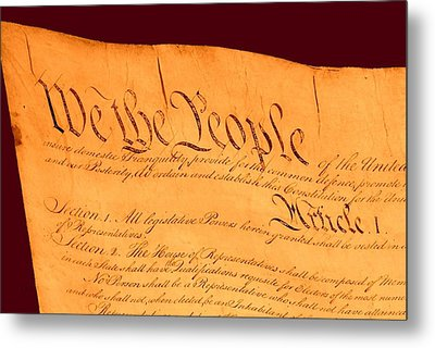 Us Constitution Closeup Red Brown Background Metal Print by L Brown