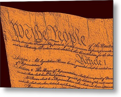 Us Constitution Closeup Sculpture Red Brown Background Metal Print by L Brown