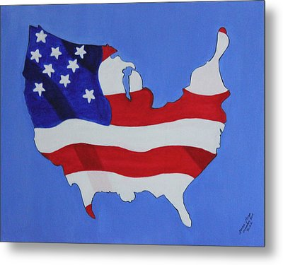 Metal Print featuring the painting Us Flag by Lorna Maza