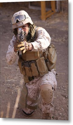 Us Marine At Work Metal Print by Shoal Hollingsworth