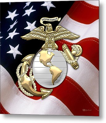 U. S. Marine Corps - U S M C Eagle Globe And Anchor Over American Flag. Metal Print by Serge Averbukh