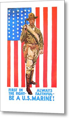 Metal Print featuring the mixed media U.s. Marine by Presented By American Classic Art