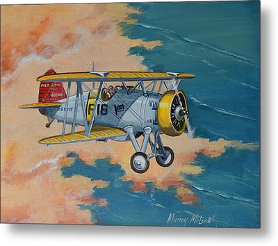 Metal Print featuring the painting Us Navy Boeing F4b by Murray McLeod