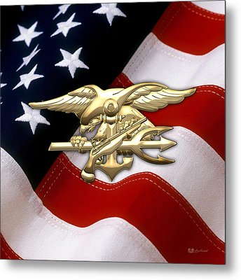 U. S. Navy S E A Ls Emblem Over American Flag Metal Print by Serge Averbukh