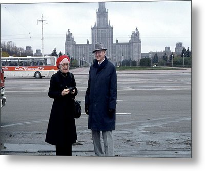 Us Physicists In Moscow Metal Print by Emilio Segre Visual Archives/american Institute Of Physics