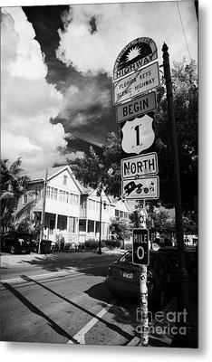 Us Route 1 Mile Marker 0 Start Of The Highway Key West Florida Usa Metal Print by Joe Fox