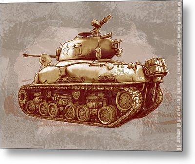 Us Sherman Tank In World War 2 - Stylised Modern Drawing Art Sketch Metal Print