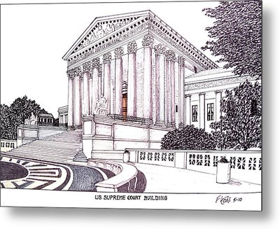 Us Supreme Court Building Metal Print by Frederic Kohli