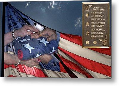 Us Veterans Burial Flag 3 Panel Composite Digital Art Metal Print by Thomas Woolworth