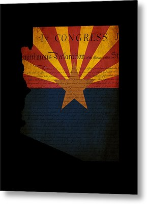 Usa American Arizona State Map Outline With Grunge Effect Flag A Metal Print by Matthew Gibson