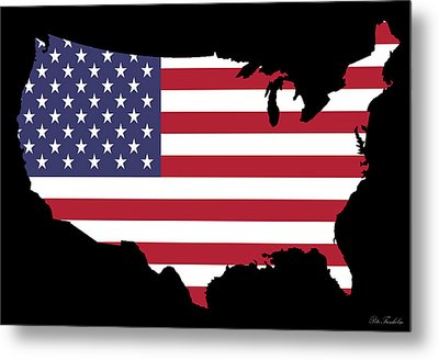 Usa And Flag Metal Print