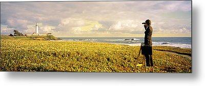 Usa, California, Businessman Standing Metal Print by Panoramic Images