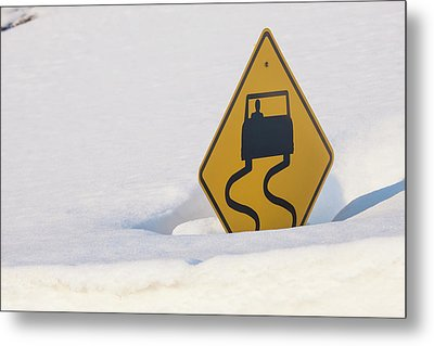 Usa, Colorado A Slippery When Wet Sign Metal Print by Jaynes Gallery