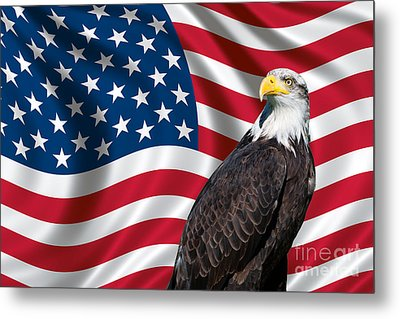 Metal Print featuring the photograph Usa Flag And Bald Eagle by Carsten Reisinger