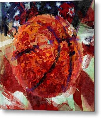 Usa Flag And Basketball Abstract Metal Print by David G Paul