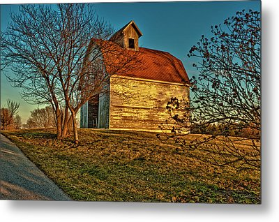 Usa, Indiana, Rural Scene Of Red-roofed Metal Print