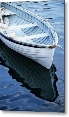 Usa, Maine, Rockport, Dinghy Moored Metal Print by Ann Collins
