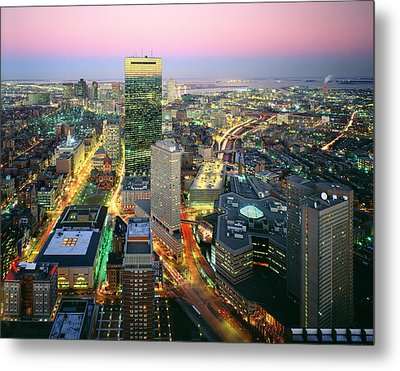 Usa, Massachusetts, Boston, Night View Metal Print