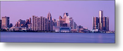 Usa, Michigan, Detroit, Twilight Metal Print by Panoramic Images