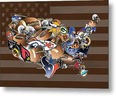 Usa Nfl Map Collage 2 Metal Print