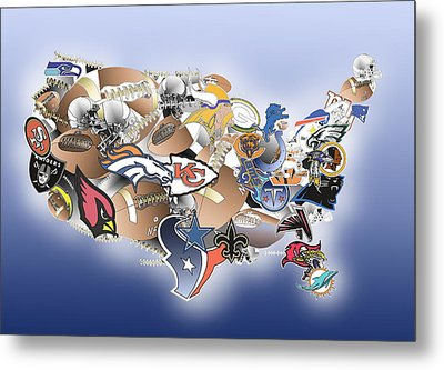 Usa Nfl Map Collage Metal Print by Bekim Art