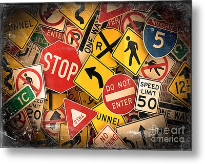 Metal Print featuring the photograph Usa Traffic Signs by Carsten Reisinger