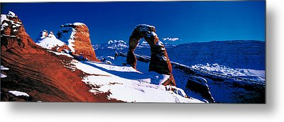 Usa, Utah, Delicate Arch, Winter Metal Print by Panoramic Images