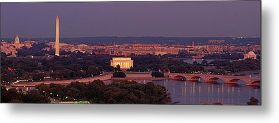 Usa, Washington Dc, Aerial, Night Metal Print by Panoramic Images
