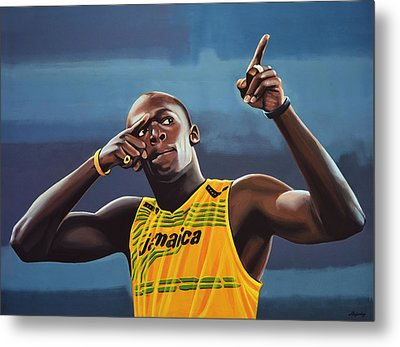 Usain Bolt Painting Metal Print by Paul Meijering