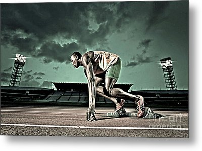 Usain Bolt Track And Field Metal Print by Lanjee Chee