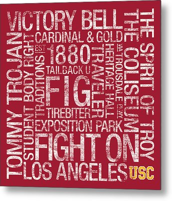 Usc College Colors Subway Art Metal Print