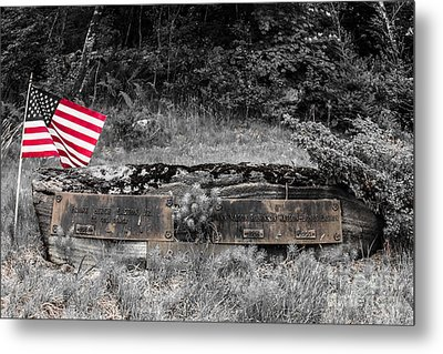 Metal Print featuring the photograph Usmc Veteran Headstone by Sherman Perry