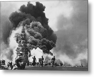 Uss Bunker Hill Kamikaze Attack  Metal Print by War Is Hell Store