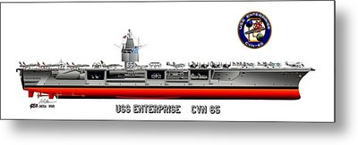 Uss Enterprise Cvn 65 1975- 1981 Metal Print by George Bieda