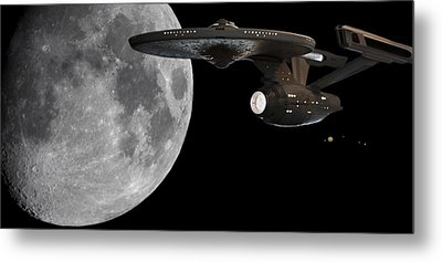 Metal Print featuring the photograph Uss Enterprise With The Moon And Jupiter by Jason Politte