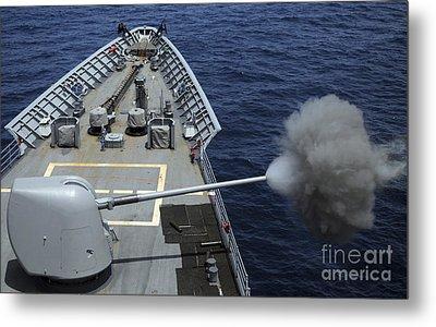 Uss Philippine Sea Fires Its Mk 45 Metal Print by Stocktrek Images