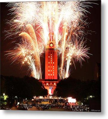 Ut Tower 2013 Fireworks Metal Print