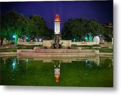 Ut Tower Regular Season Win Reflection Metal Print by Preston Broadfoot