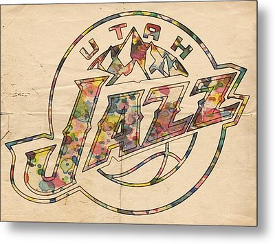 Utah Jazz Poster Art Metal Print