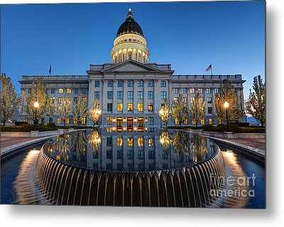 Utah State Capitol In Reflecting Fountain At Dusk Metal Print by Gary Whitton