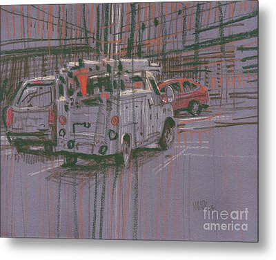 Metal Print featuring the painting Utility Truck by Donald Maier
