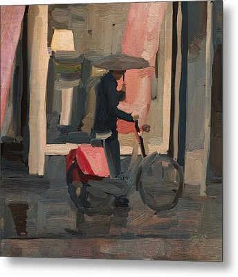 Metal Print featuring the painting Utrecht - Cycler In The Rain by Nop Briex