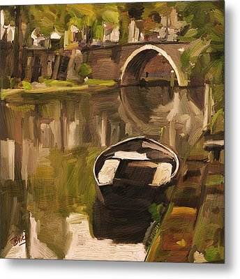 Metal Print featuring the painting Utrecht - Oude Gracht By Briex by Nop Briex