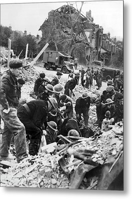 V-1 Bomb Rescue Workers Metal Print by Underwood Archives