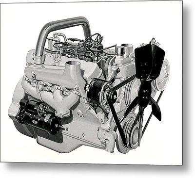 V-8 Gmc Diesel Engine Metal Print by Underwood Archives