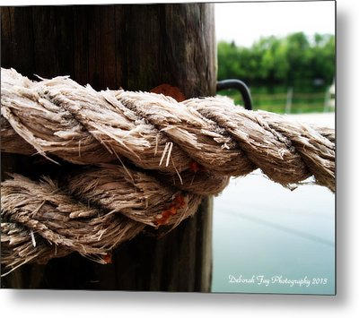 V2- Weathered Rope On The Dock  Metal Print by Deborah Fay