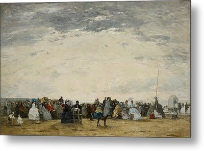 Vacationers On The Beach At Trouville Metal Print by Eugene Louis Boudin